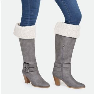 Just Fab Sachi Shearling Gray Heeled Boot